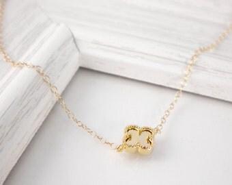 Dainty gold clover necklace, gold filled necklace, four leaf clover