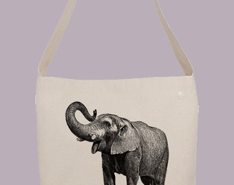 Vintage Elephant with Raised Trunk - Hobo Sling Tote, 14.5x14x3, Crossbody Strap, Magnetic Closure, Inside pocket