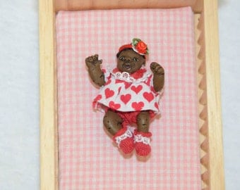 Dollhouse Baby Doll - 1/12 Scale Girl - Black/African American Infant - Handmade OOAK Polymer Clay - Moveable Arms and Legs - Charity Rose