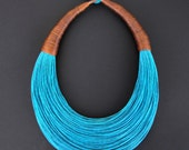 Statement Fiber Necklace, Cotton Necklace, African Jewelry, Turquoise, Trending Necklace, Bold Necklace