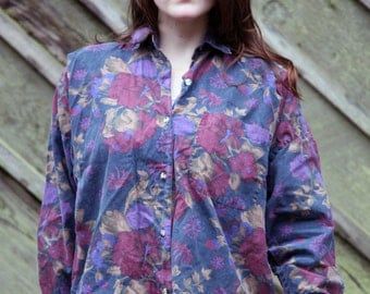 80s 90s FLORAL Oversized Jewel Tone Rose Print Button down Blouse Shirt Top, Small Medium