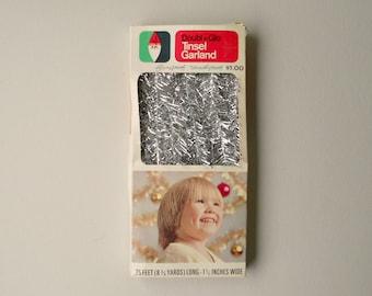 Vintage Tinsel Garland, Metallic Silver 25 Foot Retro Holiday Garland, Christmas Tree Decoration