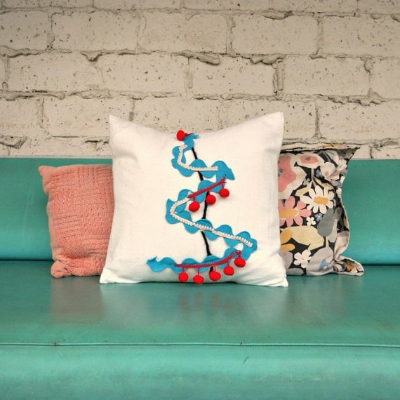 Red Turquoise Not Just For Holiday Decor: Handmade Cotton Pillow Turquoise Red White Christmas Tree