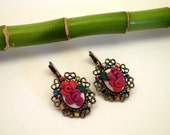 Roses Cameo Earrings Vintage Inspired Earrings bridesmaid gifts bridal jewelry