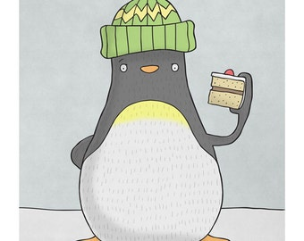 Penguin with Bobble Hat and Birthday Cake -  Illustration Art Print