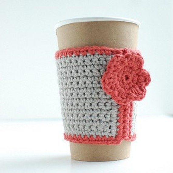 Cozy, Coffee cup cozy, Crochet Coffee Sleeve, Reusable Coffee Cozy, Gray  with pink flower by The Cozy Project