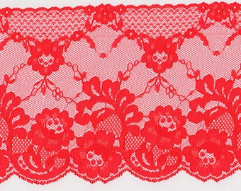 Vintage Lace Wide Red Floral  3 plus Yards