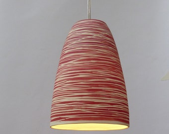 Porcelain bell with red stripe. Hanging lamp
