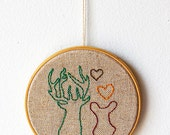 "Deers in love - Embroidery in wooden hoop 5"" - Woodland - Rustic - Natural - Gift idea"