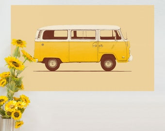 Yellow Volkswagen Bus Wall Sticker Decal – VW Combi T2 by Florent Bodart