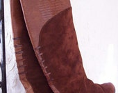 Chestnut Brown Leather and Suede Tall Riding Boots with Low Heels and Extra Detailing