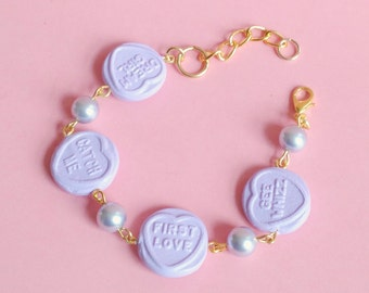 Sweet Heart Bracelet, Lilac, Kawaii, Fairy Kei, Lolita, Pastels, Swarovski Elements