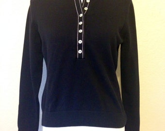 Black and White Liz Claiborne Sweater Ladies Medium Machine Washable Cotton and Nylon