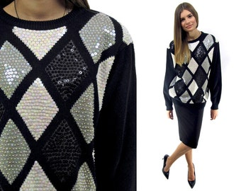 80s Abstract Sequins Slouch Sweater ΔΔ Oversized Slouch Sweater Black Sequins Sweater ΔΔ can fit • sm • md • lg