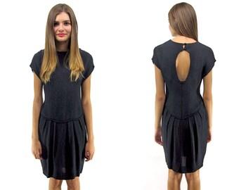 SALE - 90 Drop Waist Dress, Key-Hole Back, Minimalist Slouch Dress ΔΔ xs / sm