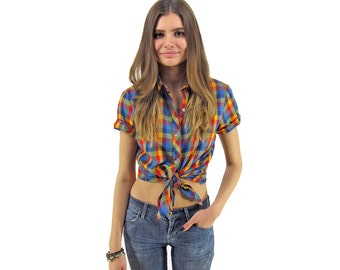 80s Rainbow Plaid Shirt, Boho Plaid Top, Collared Plaid Blouse, Boho, Fitted Plaid Shirt ΔΔ xs / sm
