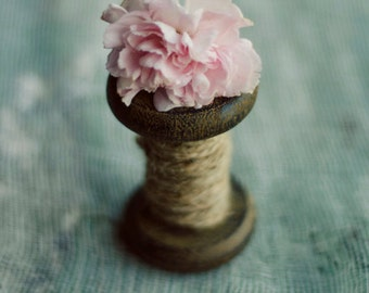 farmhouse decor, rustic still life, pink carnation art, teal wall art, country cottage decor,pink and teal,pink flower art, sewing art print