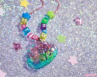 Cute Shit Glitter Resin Necklace MATURE