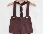 Retro short with braces for baby boys and baby girls   hipster style ring bearer shorts or baby boy wedding outfit in brown corduroy