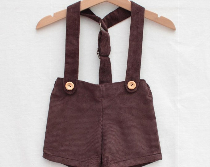 Featured listing image: Baby retro short with braces | Brown cord
