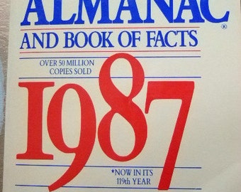 Vintage 1987 World Almanac and Book of Facts, 119th Year, More Than a Million Facts, Top News Stories of 1986, Reagan Landslide, Christmas