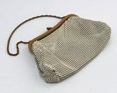 Vintage Cream Whiting & Davis Alumesh Purse 1940's Small Hand Bag with Chain Handle