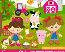 Farmer girls - Farm clipart - Clip Art and Digital paper set