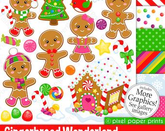Gingerbread Wonderland - Christmas clipart - Clip Art and Digital paper set
