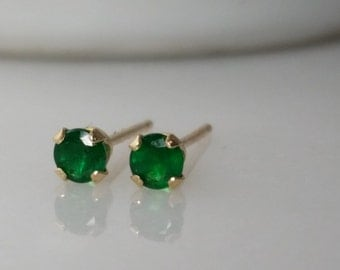 Tiny 14K A Grade Green Emerald Gemstone Stud Earrings - May Birthstone Earrings- 3mm Emerald Studs