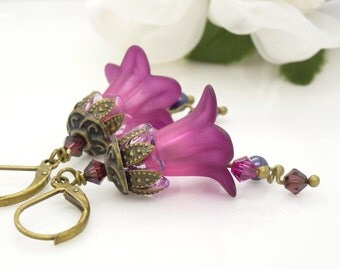 Dark pink lucite flower earrings, Vintage style antique bronze dark pink and purple earrings