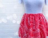Red Polka Dot Mini Skirt // Ice Skater Style Skirt // Full Skirt //Red and White Skirt // Swingy Skirt // Elastic Waist Skirt