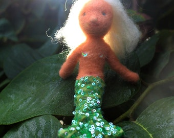 Resplendant Mergranny Old Mermaid Granny Needle-Felted Waldorf Seasons Table doll by Castle of Costa Mesa