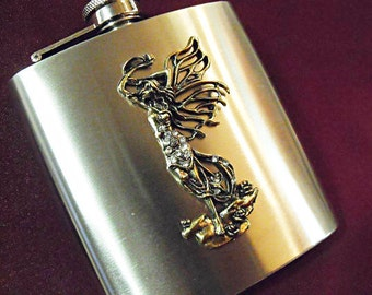 Flask For Women,     Winged Greek Goddess With Rhinestones  6 ounce  Handmade