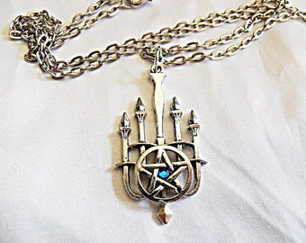 Silver Pendant Necklace,  Wicca Witches Pentagram and Candle Necklace with Blue Rhinestone  Womens Gift  Handmade
