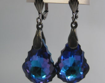 Heliotrope baroque Swarovski crystal earrings