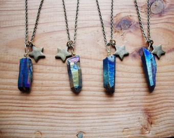 Rainbow aura titanium quartz point necklace with adorable ages brass star charm