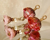 Pink picasso bead drop dangles diy jewelry making