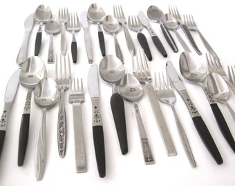 "Mid Century Stainless Flatware Set Mismatched Black Handle Service for 4, 6, or 8, or single place settings (as-is, see ""Item Details"")"