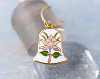 Darling little Bell Necklace - Enamel Pendant on Chain - Art Nouveau Jewelry