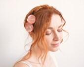 Dusty pink flower hair pins - Bridal hair flowers with Swarovski crystal