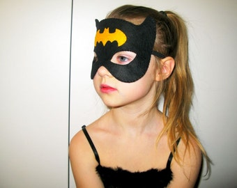 Batgirl felt mask (2 year - adult size) - Black Yellow - bat Halloween Superwoman Supergirl costume soft Dress up play Photo prop accessory