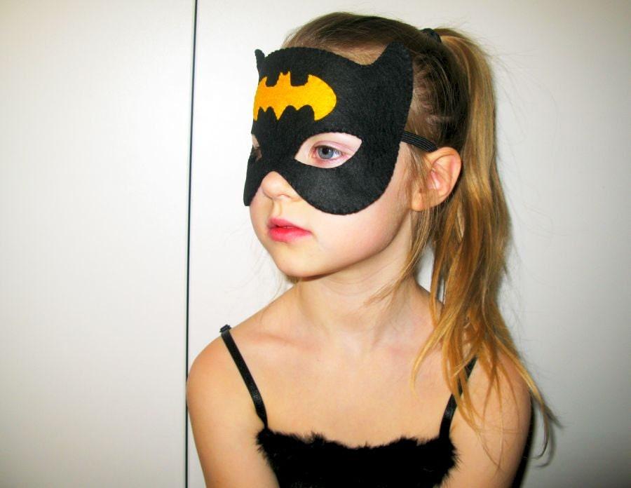 Batgirl felt mask 2 year adult size Black Yellow by FeltFamily