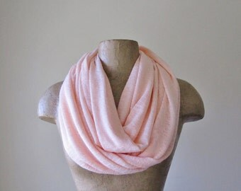 PALE PINK Infinity Scarf - Pale Pink Circle Scarf - Lightweight Slub Knit Tube Scarf - Womens Scarf
