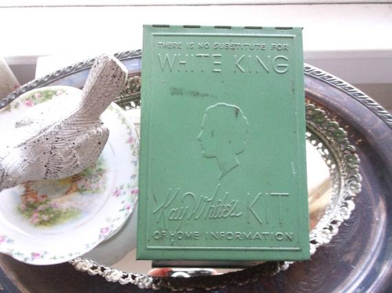 Antique Jadeite Tin Advertisement Kay White Kit White King Old