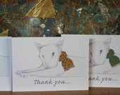 Cute Bull Terrier Thank you Cards Set of 5