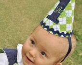 Green Argyle Birthday Ric Rac Hat with Navy Pom Pom with Navy Pin Dot Number