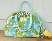 Vintage 1970's Aqua Green Yellow Floral Terry Cloth Travel Toiletry Case Makeup Bag