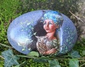 Free Shipping Painted stone. Ready to ship. Little fairy with owl , sprite of the forest painted pebble. Beach pebbles art