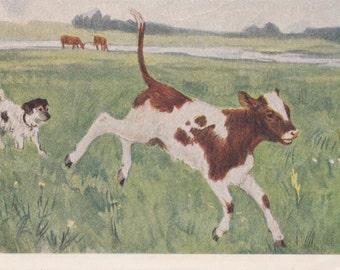 "A. Plastov ""Calf and dog"" Postcard -- 1955"