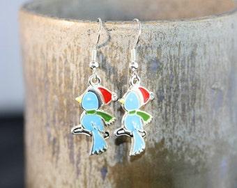 Christmas Bird Silver Plated Earrings - Item 1429